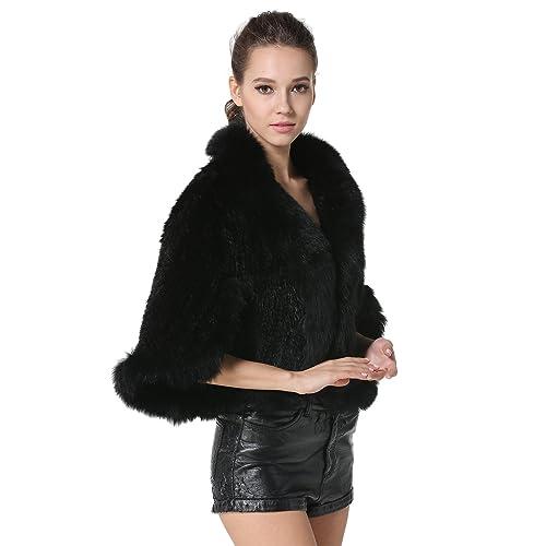 6c5b22e4e9bd MEEFUR Women's Real Mink Fur Knitted Cappa with Fox Fur Collar Winter Warm  Wedding Cloak Soft