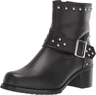 RIDETECS 8 Motorcyle Boots for Women, Side Zipper, Oiled Leather Goodyear Welt Construction Ankle Strap