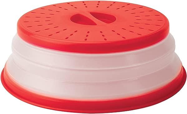 Tovolo 透气轻松握把可折叠微波炉罩 10 5 英寸红色
