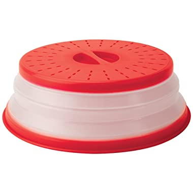 Tovolo Vented Collapsible Microwave Food Cover With Easy Grip Handle, Dishwasher-Safe, BPA-Free Silicone & Plastic, 10.5  Round, Red