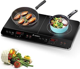 Aobosi plaque de cuisson, table de cuisson à induction double portable, commande par capteur et plateau en verre cristal,M...