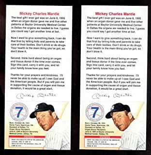 Lot 2 1995 1996 Mickey Mantle Foundation Organ Donor Card Donation Mickey's Team