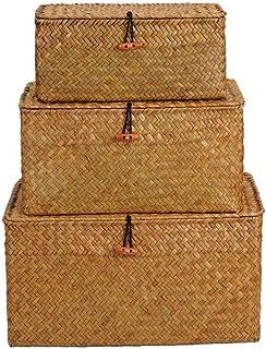 Seagrass Stockage du Coffre Linge Panier De Rangement Tissé Organisateur Boîte Polyvalent Conteneur avec Couvercle 3pcs (s...