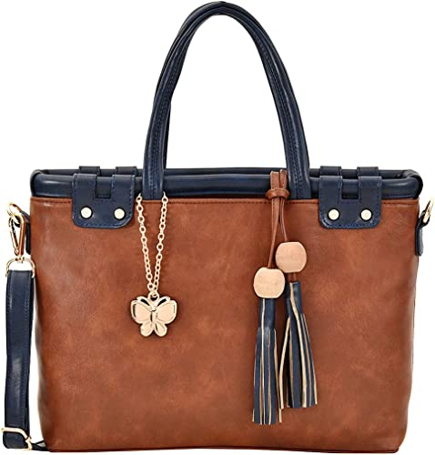 Handbag For Women s Girl s Tan Navy Blue BNS 0722TN
