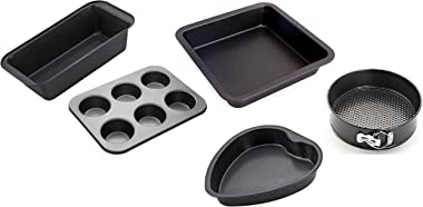 XACTON Carbon Steel Cake Mould Combo Set - 1 Bread Mould, 1 Muffins, 1 Square Cake Tin, 1 Heart Tin, 1 Spring Form Tin
