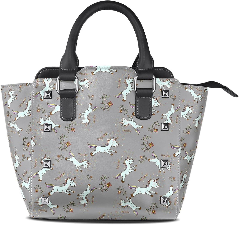 Sunlome Cartoon Baby Unicorn Print Handbags Women's PU Leather Top-Handle Shoulder Bags