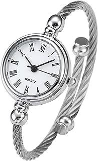 Top Plaza Womens Fashion Silver Tone Analog Quartz Bangle Cuff Bracelet Wrist Watch, Unique Elegant Stainless Steel Wire Band, Roman Numerals