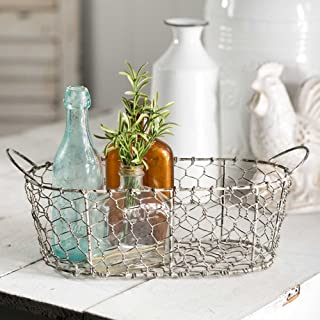 Oval Chicken Wire Basket with Handles by Colonial Tin-Works