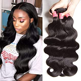 YIROO Hair Brazilian Hair Body Wave 3 Bundles 100% Unprocessed Virgin Human Hair Weft Extensions 95-100g/pc (14 16 18inch, Natural Color)