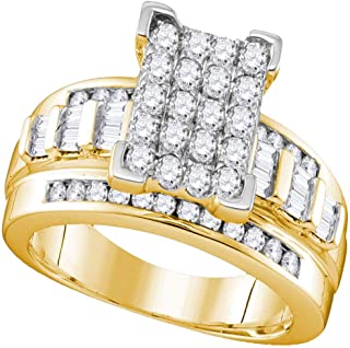 FB Jewels 10kt Yellow Gold Womens Round Diamond Cluster Bridal Wedding Engagement Ring 1/2 Cttw Size 7