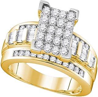 Diamond2Deal - Anello di fidanzamento in oro giallo 10 kt, con diamanti rotondi, 1/2 Cttw