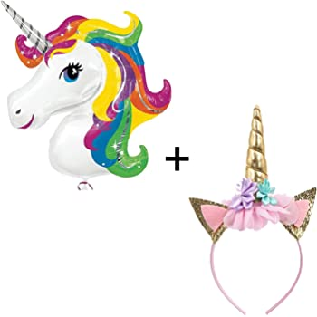 Party Propz Unicorn Head Band Combo Set for Unicorn Party Supplies (Golden Headband + Big Unicorn Foil Balloon)