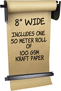 Wall Mounted Kraft Paper Dispenser & Cutter: Includes 50 Meter Long Kraft Paper Roll - Perfect for To-Do Lists, Daily Specials, Menus and other Note Taking (8 Inches Wide)