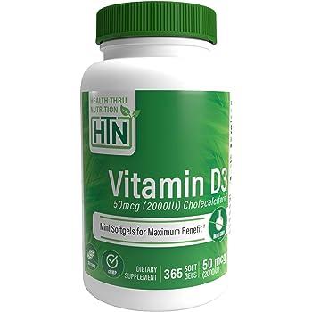 Health Thru Nutrition ビタミン D3 2000 Iu、365 ソフトジェル、大豆なし、天然 ビタミンD