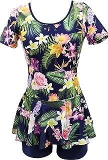 Womens Short Sleeve One Piece Floral Swimwear Shaping Body Dress Swimdress Boy-Leg Bathing Suit