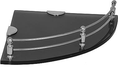 Plantex Premium Black Glass Corner Shelf for Bathroom/Kitchen Shelf/Bathroom Accessories(9x9 Inches - Pack of 2)