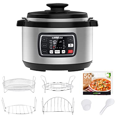 GoWISE USA GW22709 Ovate 9.5-Qt 12-in-1 Electric Pressure Cooker Oval with Slow Cook, Rice, Yogurt, Egg, Saute, Steamer, Keep Warm Functions + Accessories & Recipes, Stainless Steel