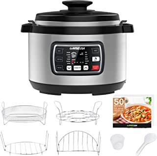 GoWISE USA GW22709 Ovate 9.5-Quart 8-in-1 Programmable Pressure, Slow, Rice, Yogurt Maker, Egg Cooker, Saute, Steamer, Warmer + Accessories and Recipes, QT, Stainless Steel