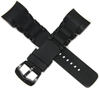 Swiss Legend 26MM Black Silicone Rubber Watch Strap Stainless Black Buckle fits 47mm Commander Pro Watch