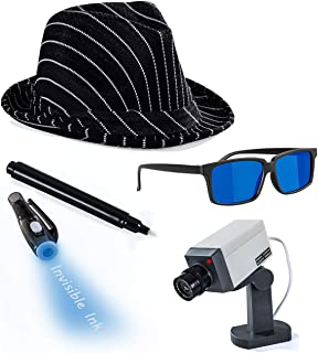 Tigerdoe Detective Costume - Spy Gear for Kids - Dress Up - Spy Costume Accessories (4 Pc) Black