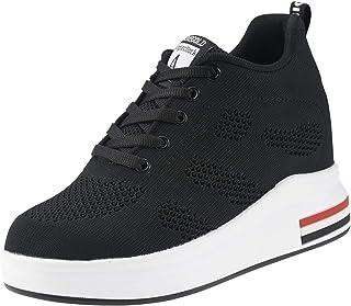 Zapatillas de Deporte Transpirables Zapatillas de Cuña para Mujer Alta Talón Plataforma 8cm Sneakers