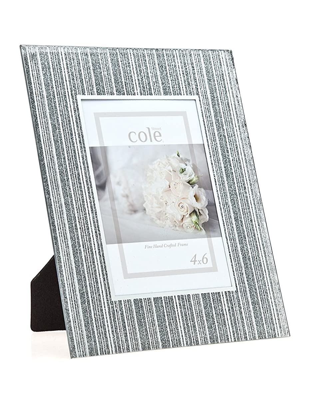 Philip Whitney 4x6 Striped Glitter Silver