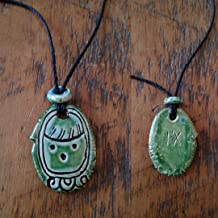 Mayan I'X Necklace Mesoamerican Tzolk'in Day Sign Jaguar Glyph Ceramic Amulet Turquoise Green Pendant