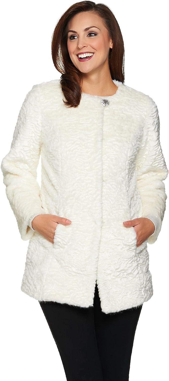 Dennis Basso Platinum Collection Faux Fur Topper Coat Ivory Size 1X BF1