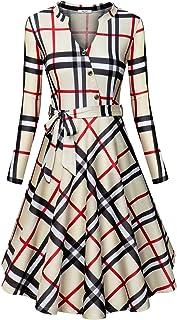 Diphi LiLi Women's V Neck Long/Short Sleeve Button Decoration Plaid Swing Dress
