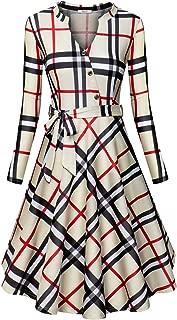 Women's V Neck Long/Short Sleeve Button Decoration Plaid Swing Dress