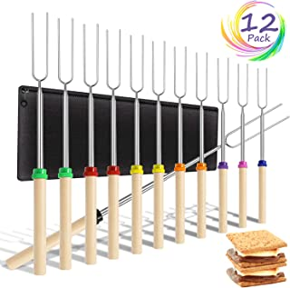 Timok Marshmallow Roasting Sticks Multicolor-Smores-Skewers-12PCS 32 in Extendable Smores Sticks for Fire Pit Premium Campfire Roasting Sticks with Wooden Handle Smores Kit for Bonfire, Grill etc.