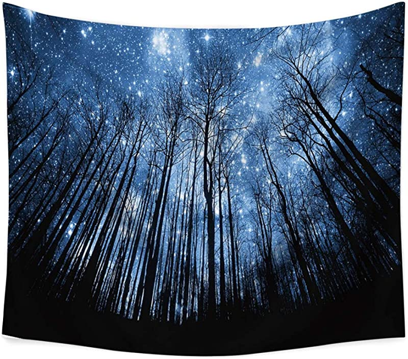 Smartcoco Psychedelic Starry Forest Tapestry Wall Hanging Tablecloth Beach Towel Blanket Picnic Yoga Mat For Home Dorm Decor Gobelin Wall Art 59 X 51inches