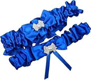 MerryJuly Royal Blue Wedding Bridal Garter Belt Set Plus Size Available