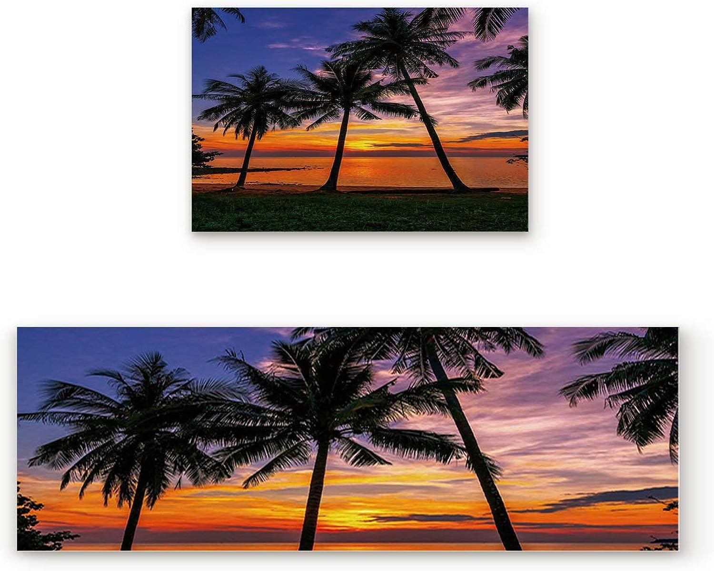 Kitchen Rugs, Non Slip Mat Kitchen Rug Set 2 Piece Sunset Tropical Coconut Palm Tree Sandy Beach 19.7 x31.5 +19.7 x63