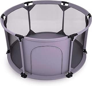 Baby Vivo Baby Plastic Playpen Foldable Portable Room Divider Child Kids Barrier Flexi with Door Zip Grey Round