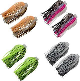 12 Bundles 88 Strand Silicone Jig Skirts DIY Rubber Jig Lures Random Color Quick Change Jig Skirt or Spinnerbait Skirt Fishing Bait Buzzbaits Spoon Blade Squid Skirt Replacement,Fly Tying Material
