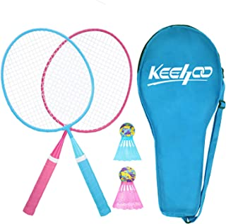 Keehoo Kids Badminton Racket Set, Indoor/Outdoor Sports Game, 2 Mini Rackets, 2 Iridescent Shuttlecocks and Carrying Bag Included