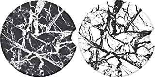 (Marble) - Car Coasters for Drinks, Black Marble Style Absorbent Ceramic Stone to Keep Your Car Cup Holders Clean and Dry,...