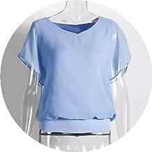 2019 Women Summer Chiffon Blouse Plus Size Ruffle Batwing Short Sleeve Casual Shirt Black White Red Blue