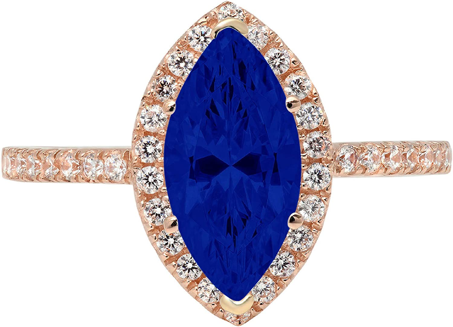 2.32ct Brilliant Marquise Cut Solitaire with Accent Halo Flawless Ideal Genuine Cubic Zirconia Blue Sapphire Engagement Promise Statement Anniversary Bridal Wedding Designer Ring 14k Rose Gold