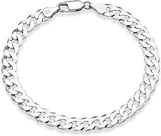 Miabella 925 Sterling Silver Italian 7mm Solid Diamond-Cut Cuban Link Curb Chain Bracelet for Men Women, 7, 7.5, 8, 8.5, 9...