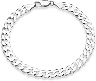 925 Sterling Silver Italian 7mm Solid Diamond-Cut Cuban Link Curb Chain Bracelet for Men Women, 7.5, 8, 8.5, 9 Inch Made in Italy