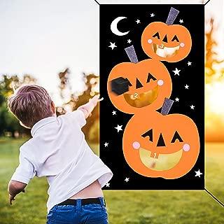 Halloween Bean Bag Toss Games,Pumpkin Bean Bag Toss Games with 3 Bean Bags Halloween Games for Families with Kids Travel Games Halloween Party Decoration