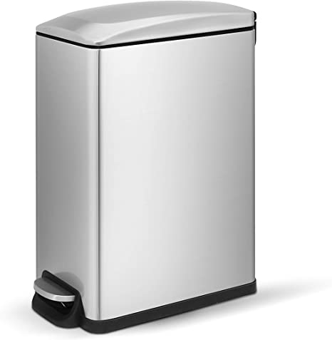 Amazon Com Innovaze Step Trash Can Rectangular Style Garbage Bin With Plastic Inner Bucket And Soft Slow Close Lid For Bathroom Kitchen And Office Slim Rectangle 10l 2 65gal Home Kitchen