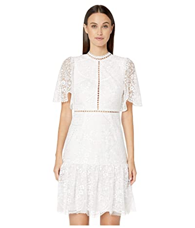 ML Monique Lhuillier Floral Embroidered Mesh Short Sleeve Dress (White) Women