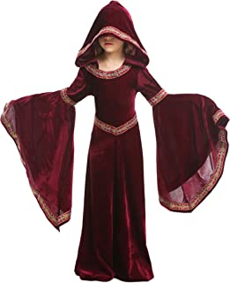 Kids Girls Medieval Renaissance Dress Costume Halloween Vampire Cosplay Hooded Robe 4-12T