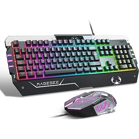 MageGee - Juego de teclado y ratón de juego RGB (disposición FR) Rainbow LED RGB teclado retroiluminado con cable para Xbox One, PC, Mac y PS4 Laptop