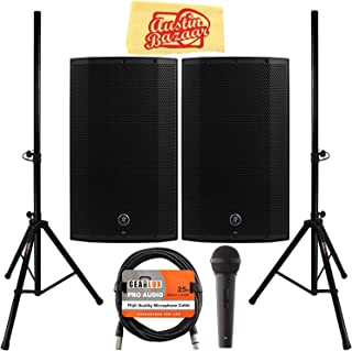 Mackie Thump12BST 12-Inch Advanced Powered Loudspeaker Bundle with 2 Speakers, Stands, Microphone, XLR Cable, and Austin Bazaar Polishing Cloth