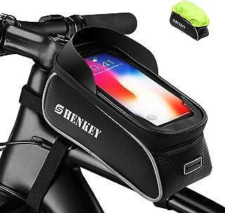 shenkey Fahrrad Rahmentasche, Fahrradrahmen Tasche Wasserdicht Touchscreen Fahrrad Handbar Front Bike Handytasche mit Sonnenblende für unten 6 Zoll Telefon