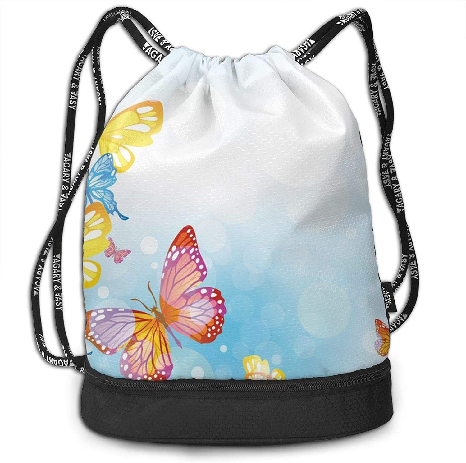 Gymsack Butterfly bluee Sky Print Drawstring Bags  Simple Bundle Pocket Backpack